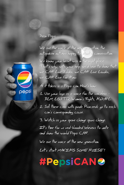 propuesta de unos diseñadores a Pepsi para su próxima campaña