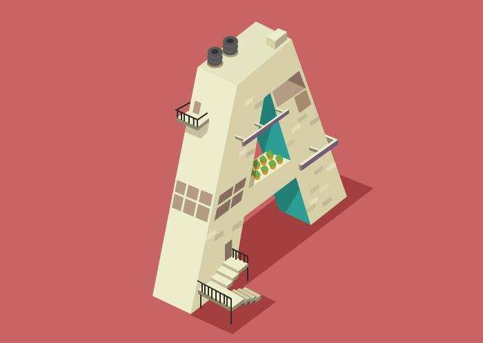 Ilustraciones tipográficas inspiradas en edificios
