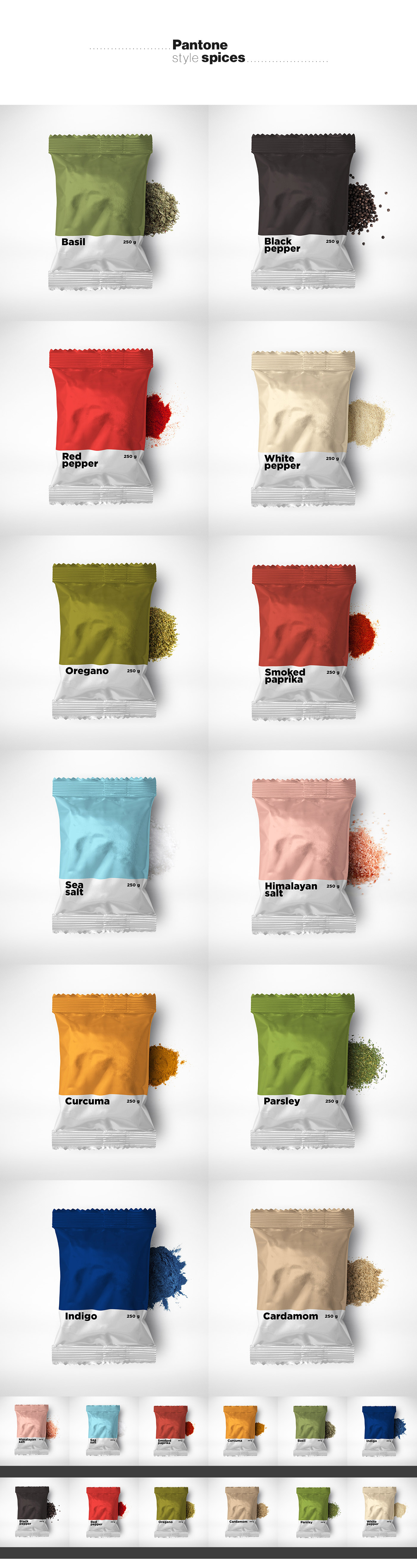 packaging para especias inspirado en colores Pantone