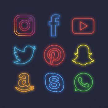 Paquete de iconos de redes sociales con efecto de luz neón gratis