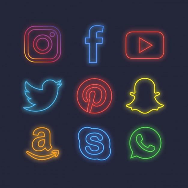 Iconos de redes sociales con efecto de luz neón