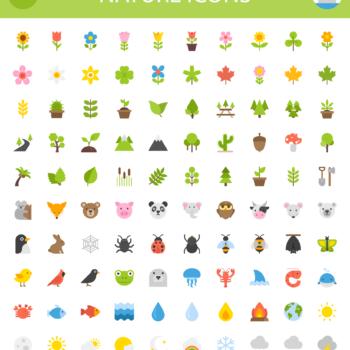 100 iconos inspirados en la naturaleza para descargar gratis