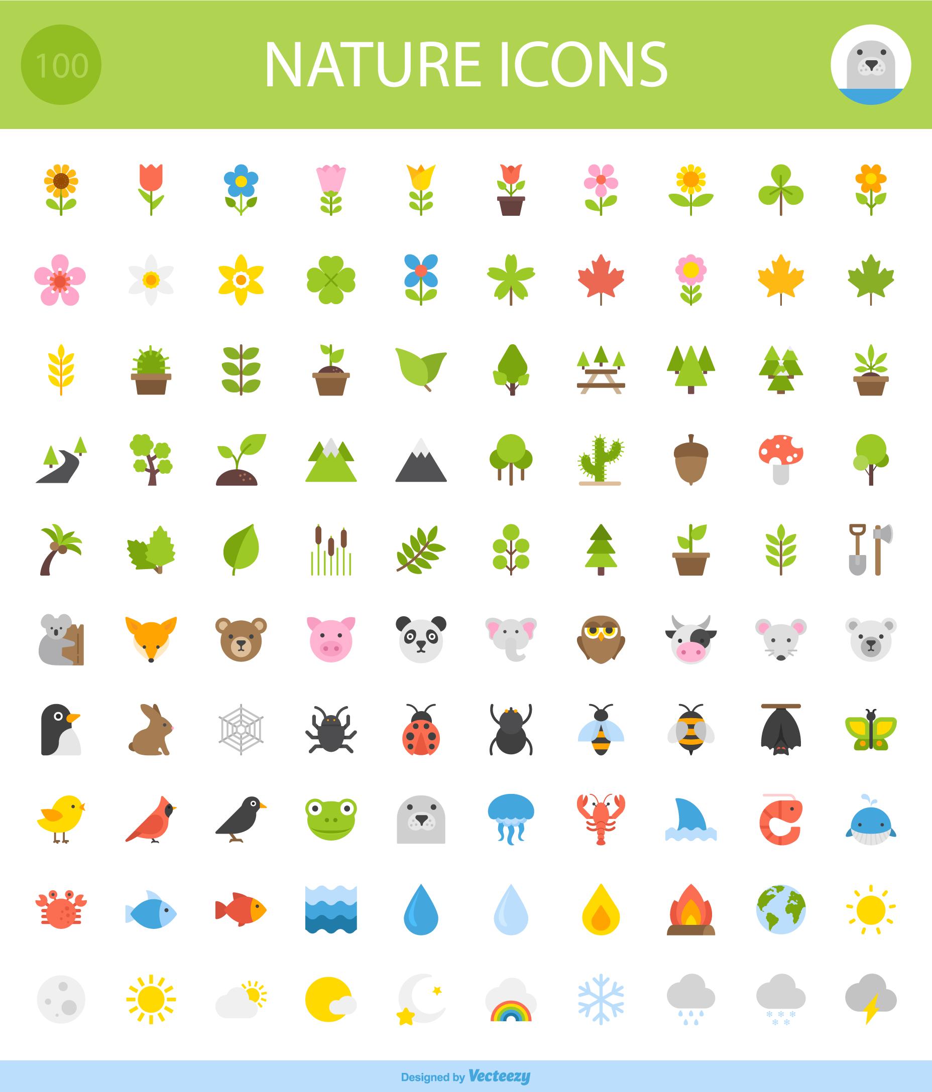 iconos inspirados en la naturaleza