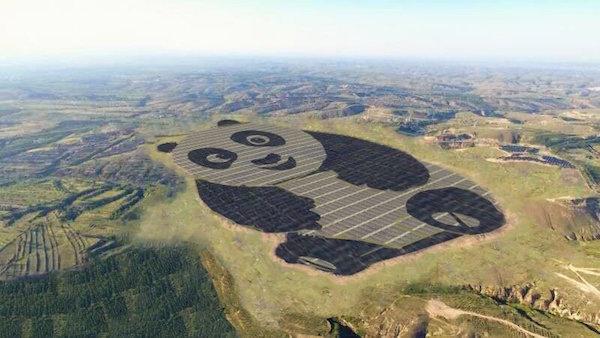 planta solar en forma de panda de China