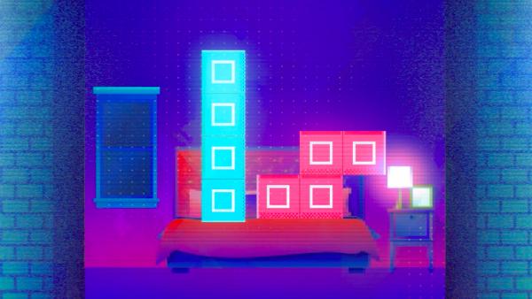 animación sobre dos piezas de Tetris