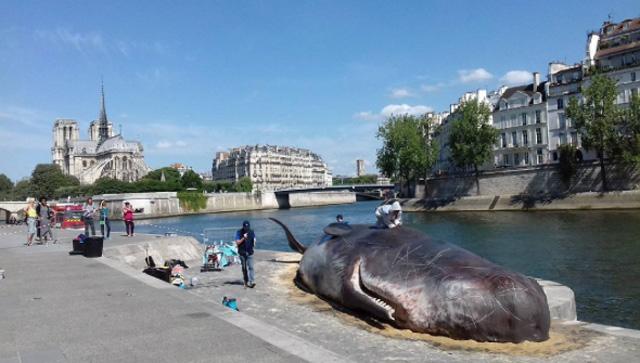 Escultura de una ballena crea conciencia en las calles de París