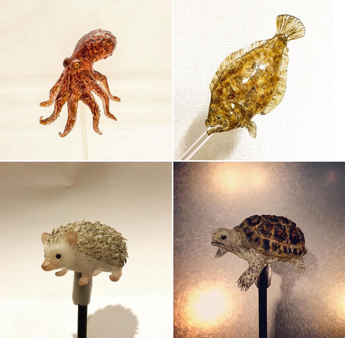 Esculturas de animales hechas como paletas