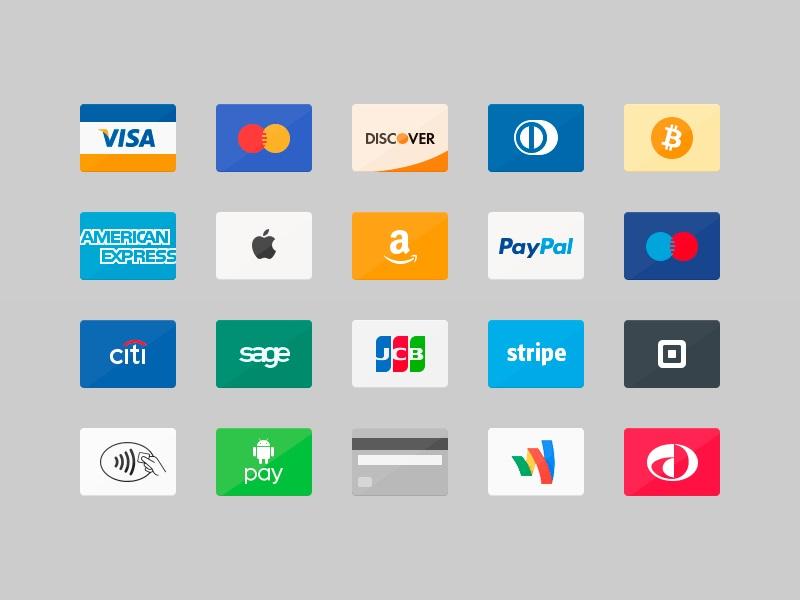 Iconos en PSD de tarjetas de crédito