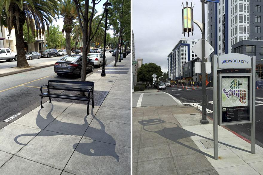 Sombras surrealistas pintadas en objetos comunes