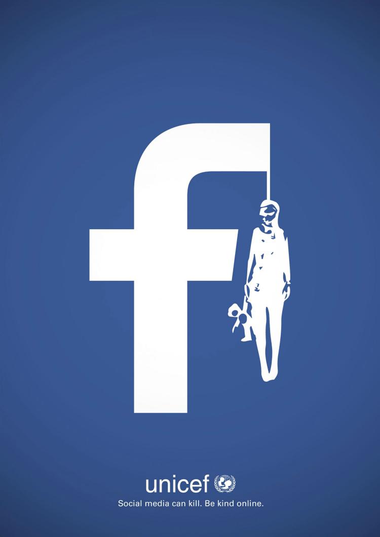 Campaña gráfica de UNICEF contra el acoso en redes sociales