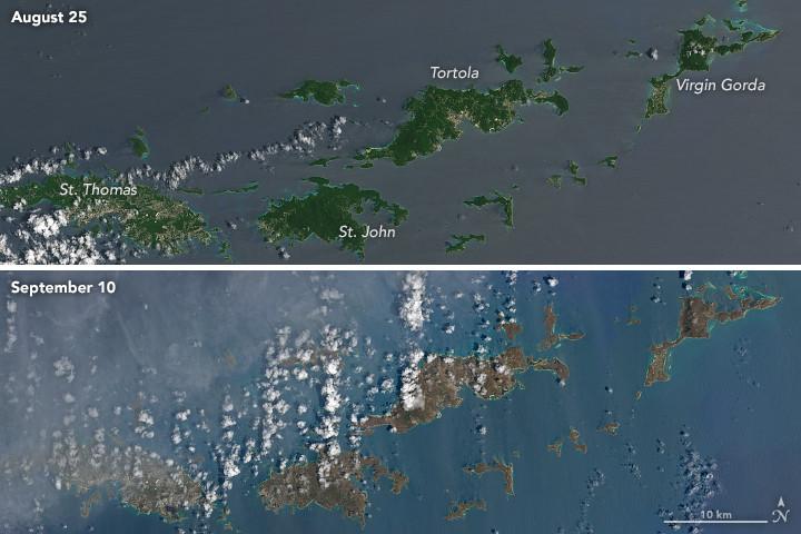 Fotografías del antes y después del huracán Irma
