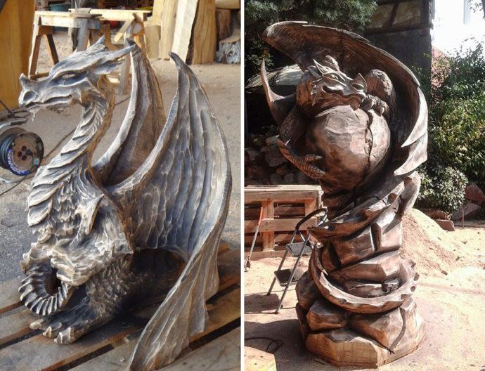 Esculturas hechas de madera