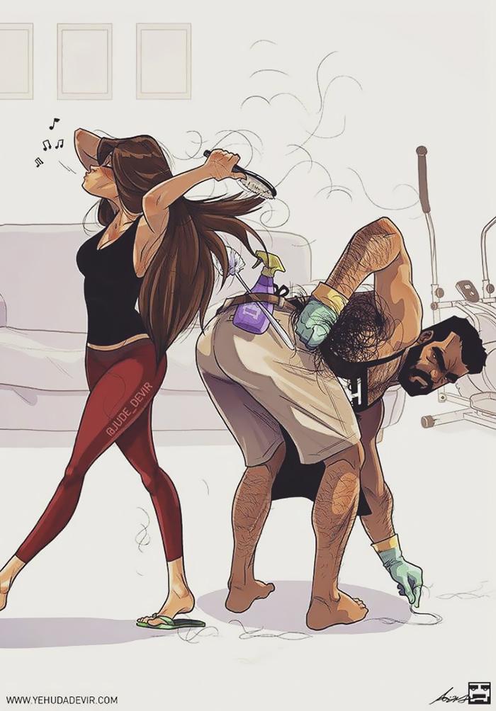 Artista ilustra su vida de pareja