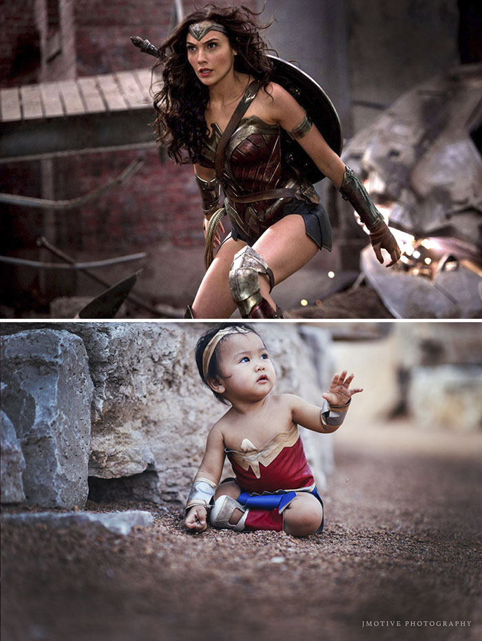 Madre transforma a su hija en wonder woman