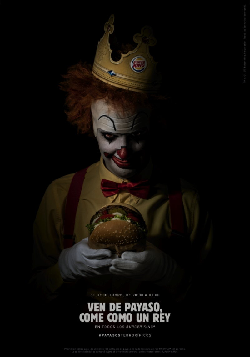 Burger King regala whoppers a quien se vista de payaso