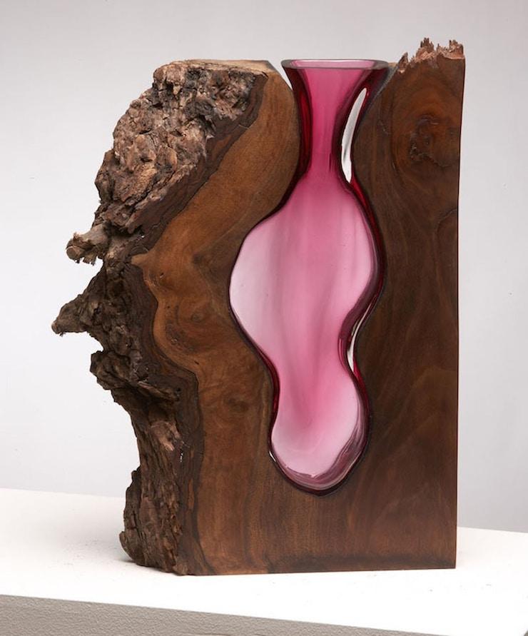Jarrones fundidos en madera