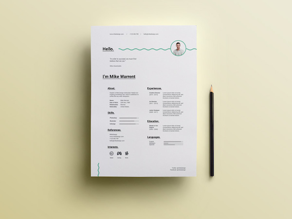 curriculum minimalista en psd para descargar gratis