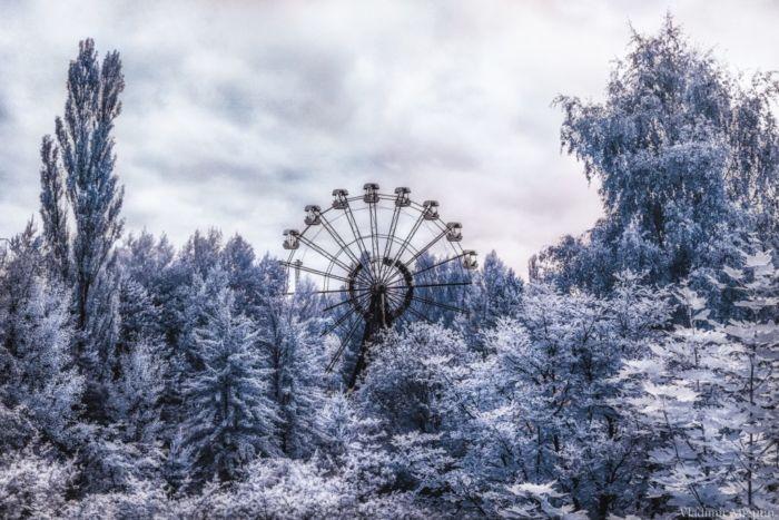 fotografía infrarroja de Chernobyl