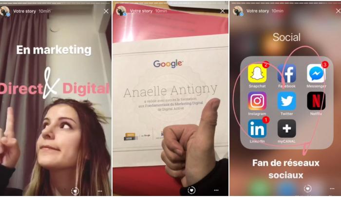 curriculum en Instagram Stories