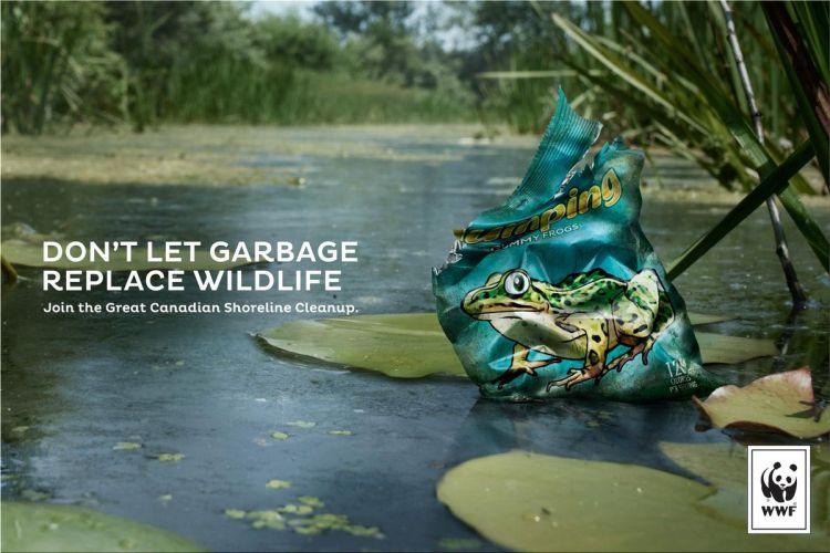Campaña grafica de la WWF contra la contaminación
