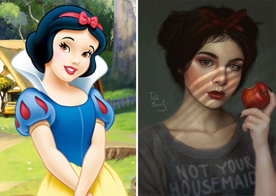 Ilustraciones Realistas De Personajes De Disney Por T