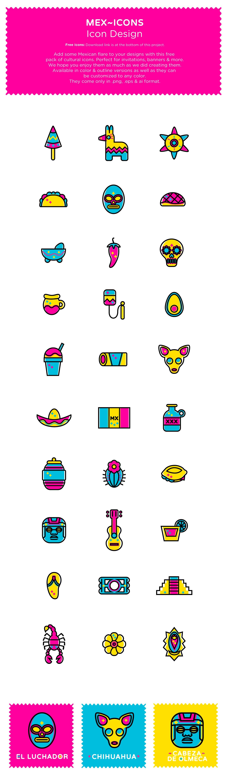 iconos gratuitos inspirados la cultura mexicana