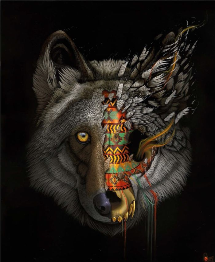 Ilustraciones tribales para crear conciencia sobre la extinción animal