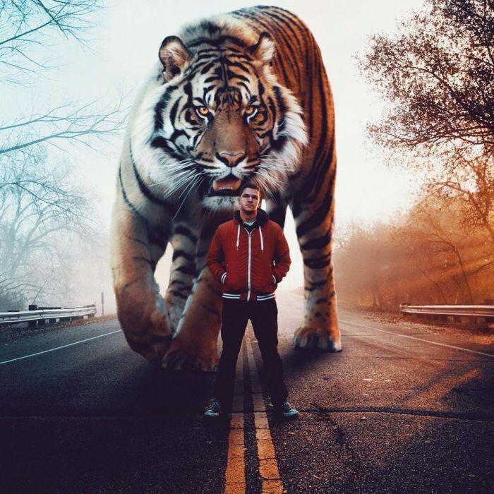 Artista imagina un mundo surrealista lleno de animales gigantes