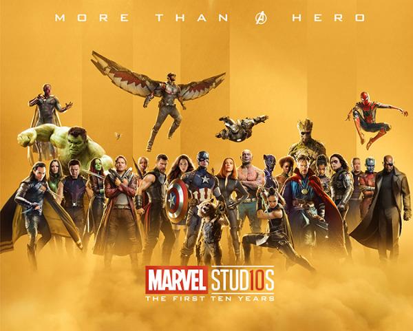 Carteles dorados de héroes de Marvel