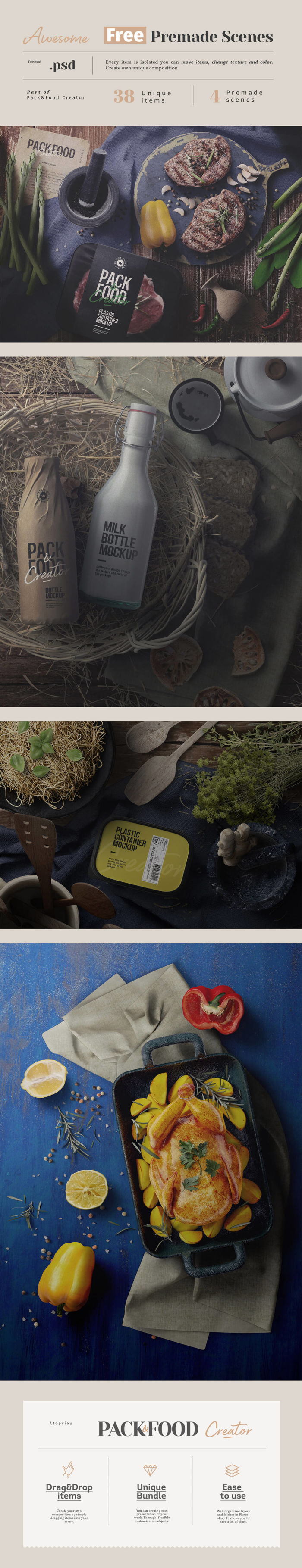 Mockups prefabricados de alimentos para descargar gratis