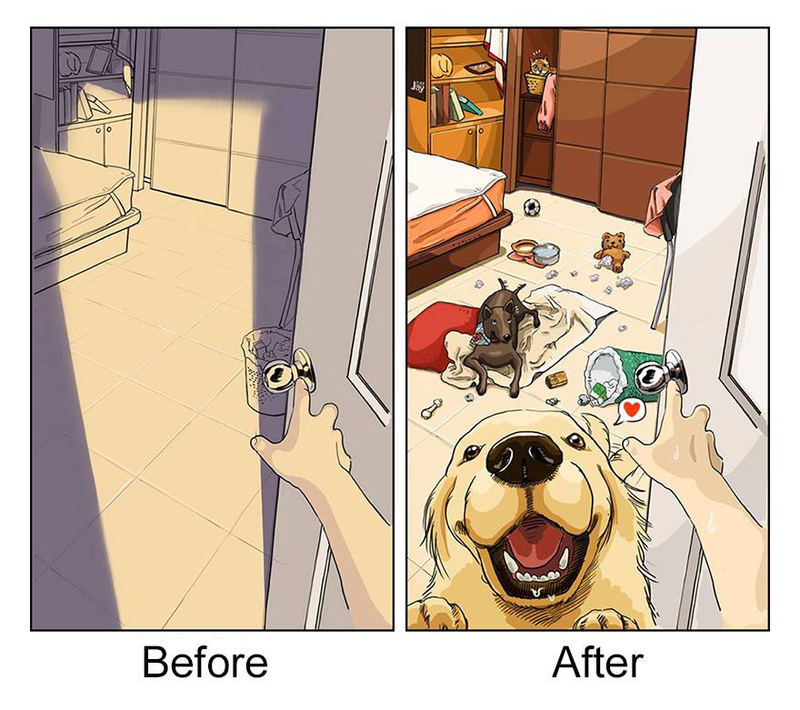 La vida antes y después de adoptar una mascota