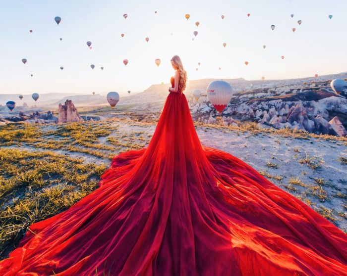 Fotógrafa mezcla paisajes y vestidos es estas hermosas fotografías
