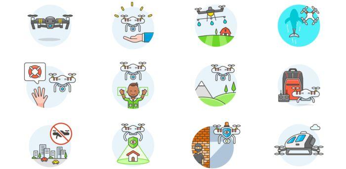 Iconos gratuitos inspirados en drones