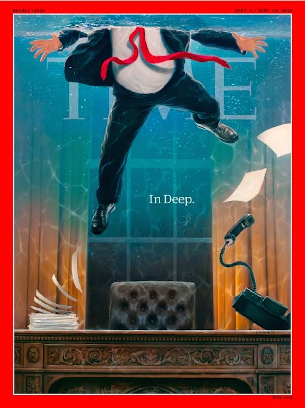 TIME lanza portada animada con Trump con el agua hasta el cuello