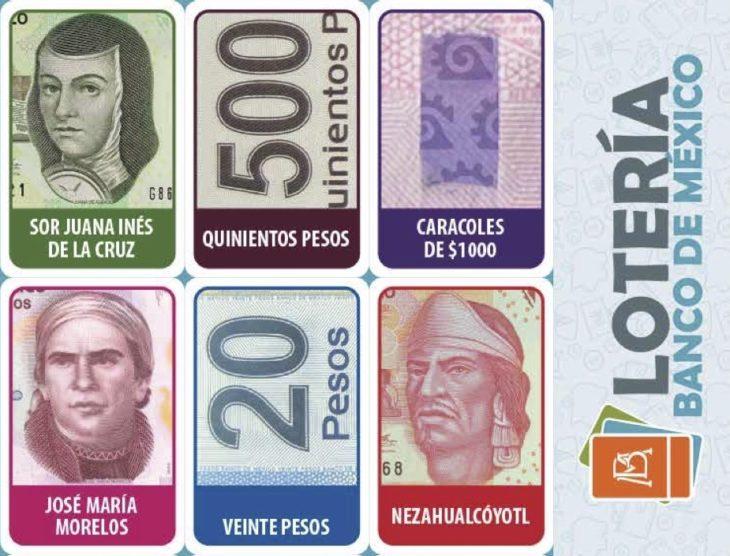 Lotería con diseños de billetes mexicanos