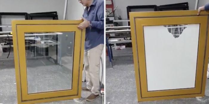 Diseño de ventana con cortina de arena