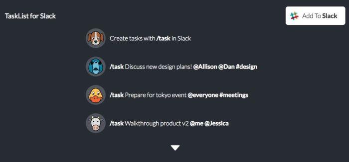 Tasklist for Slack
