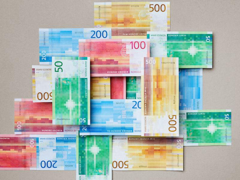Billetes con diseños minimalistas y pixelados de Noruega