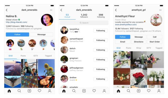 nuevo diseño de perfiles de Instagram
