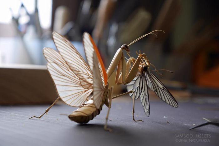Creativas esculturas de insectos ultra realistas hechas con bambú