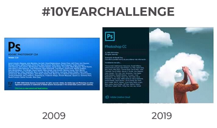 #10YearsChallenge de Adobe
