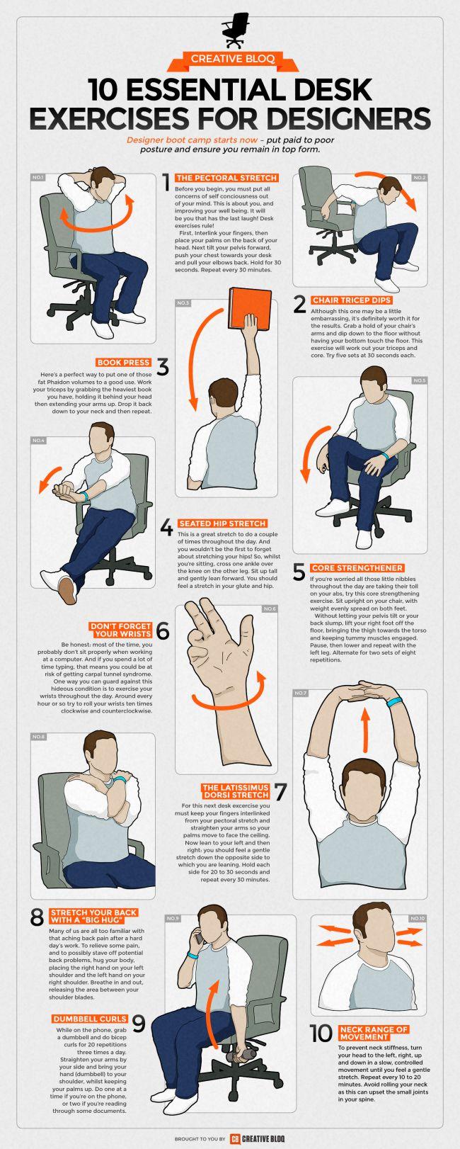 Guía ejercicios de escritorio para diseñadores