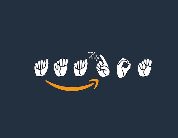 Diseño de logo con lenguaje de señas de Amazon