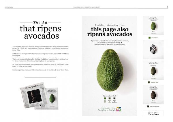 anuncio impreso para madurar aguacates