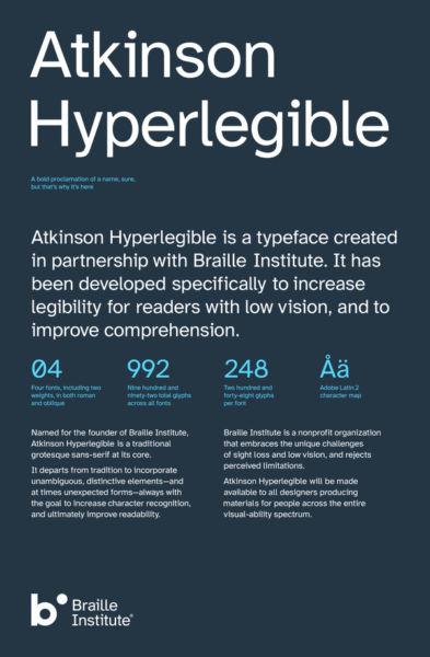 tipo diseñado para personas con discapacidad visual