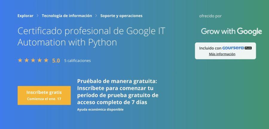 certificado Python de google